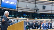 Palestinian Authority leader Mahmoud Abbas receives a standing ovation at the European Parliament in Brussels, after falsely claiming in his speech that Israeli rabbis were calling to poison Palestinian water. Abbas later recanted and admitted that his claim had been false.