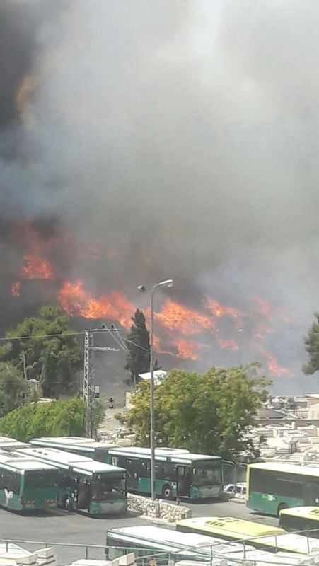 fire near jerusalem buses