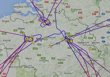 Map of Zaventem Airport in Brussels at time of explosions.