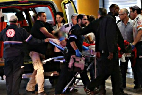 Medics evacuate Israeli wounded in Palestinian Authority stabbing attack south of Hebron Wednesday morning.