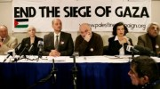 From left, former British Mayor of London, Ken Livingstone, British singer Annie Lennox, Anas Altikriti, Chief Executive of The Cordoba Foundation, British comedian and author Alexei Sayle, and Nicaraguan born human rights activist Bianca Jagger and Pakitani writer Tariq Ali, during the press conference in London to announce a mass demonstration against Israel.