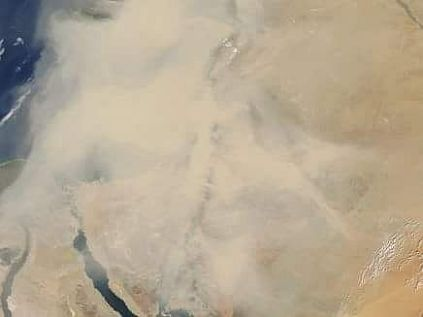 Satellite image of smog storm sweeping across Israel from the north, in Iraq and Syria.