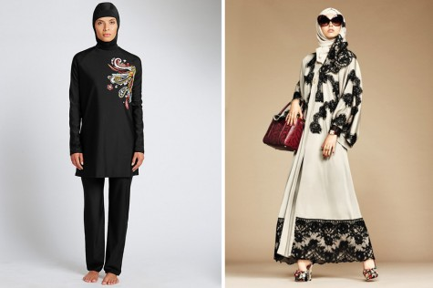 Left: Marks & Spencer's Paisley Print Burkini. Right: An outfit from the Dolce & Gabbana Abaya and Hijab Collection
