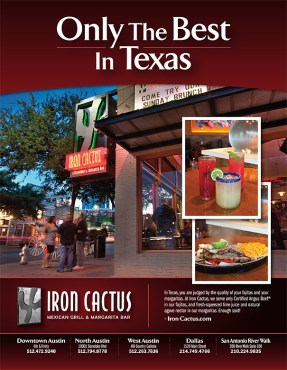 Iron Cactus Ad in Austin Monthly Magazine