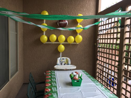 uprights yellow balloons goal post