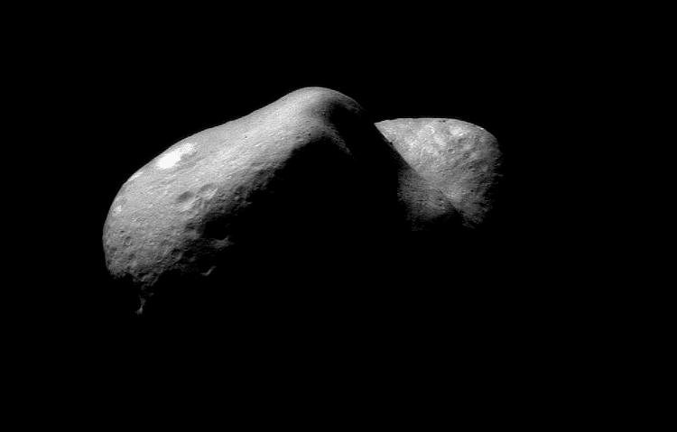Asteroid 433 Eros, a planetary killer discovered in 1898, has a dimension of 34.4 kilometers by 11.2km by 16.84 km.  It's the size of a large midwestern city.