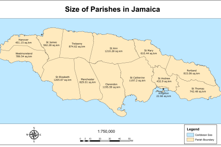 mapjamaica parish sizes 22