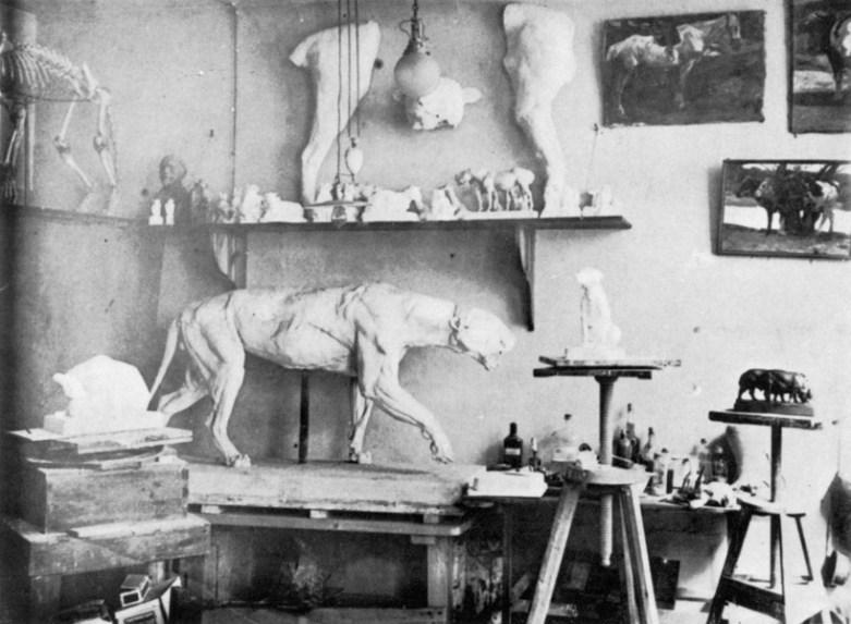 Atelier von Willi Zügel, um 1900, Foto: HfBK Dresden