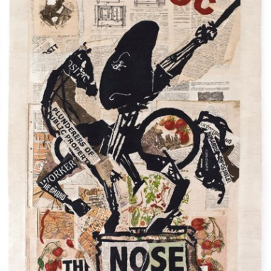William Kentridge Nose (with Strawberries), 2012, Tapestry, Edition of 6. Collaborator Marguerite Stephen, Courtesy William Kentridge.