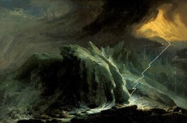 Caspar Wolf, Gewitter und Blitzschlag am unteren Grindelwaldgletscher, um 1774 – 75 Öl auf Leinwand, 54 x 82 cm Aargauer Kunsthaus, Aarau
