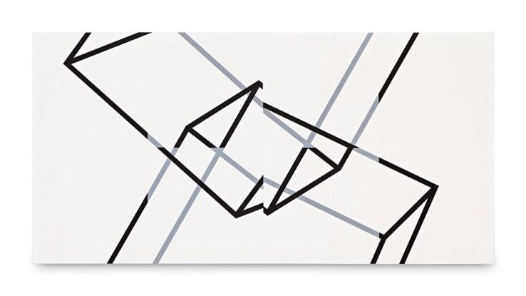 Manfred Mohr, P-330-F, acrylic canvas, 1980, 70 x 140 cm