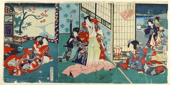 Utagawa Kunisada II (1823–1880) »Genji-Gestalten in den zwölf Monaten«. Signatur: Kunisada fude, Zensorsiegel: Aratame, Drache 3 (1868), Verlagssignet (ungedeutet), Triptychon (3 Oban-Formate), Sammlung Neue Galerie Graz / Universalmuseum Joanneum