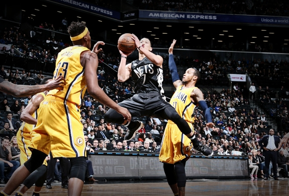 BROOKLYN, NY - OCTOBER 28: Jeremy Lin #7 of the Brooklyn Nets goes up for a shot during a game against the Indiana Pacers on October 28, 2016 at Barclays Center in Brooklyn, New York. NOTE TO USER: User expressly acknowledges and agrees that, by downloading and or using this photograph, user is consenting to the terms and conditions of the Getty Images License Agreement. Mandatory Copyright Notice: Copyright 2016 NBAE (Photo by Nathaniel S. Butler/NBAE via Getty Images)
