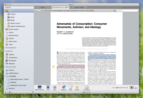 Reading an article in the Tab view of Papers.