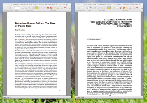 Neither Sente nor Papers allow for side-by-side reading.