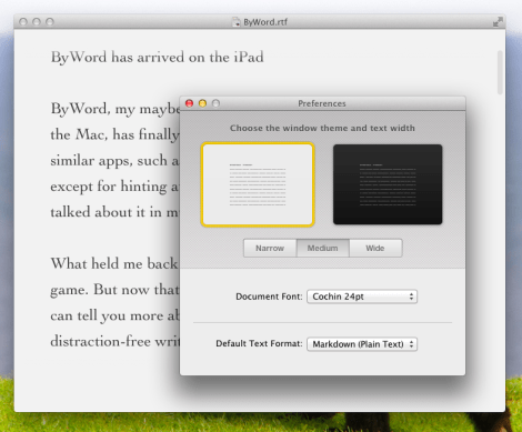 Use the Markdown file format to sync ByWord via iCloud