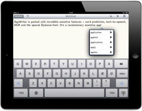 AppWriter for students with learning disabilities