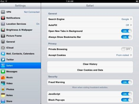 Speed up iPad - Clear Browser Cache