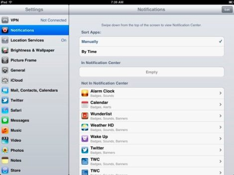 Speed up iPad - Notifications
