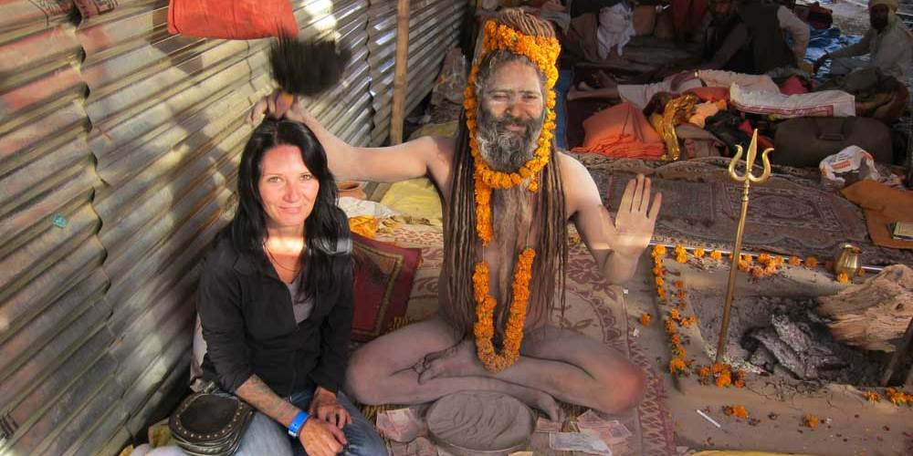 Joanne and One Eyed Baba at Kumbh Mela