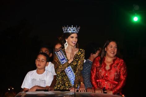 Tallita foi recebida com festa e carreata em Serra Talhada, assim como antigamente. Crédito: Miss Pernambuco / Divulgação