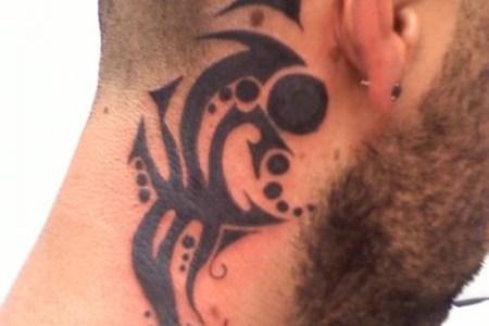 tribal neck tattoo men
