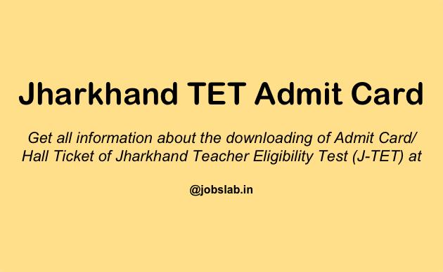 Jharkhand TET Admit Card - Download JAC TET Hall Ticket
