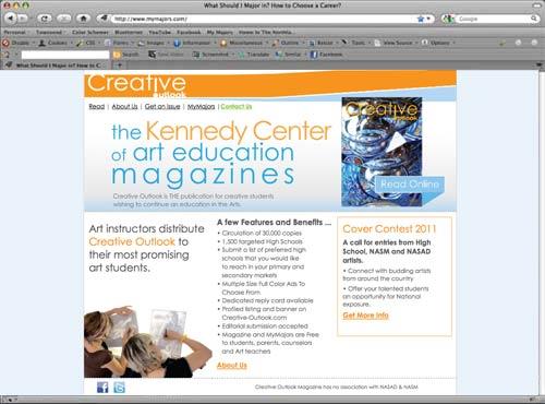 Creative Outlook Magazine mini-site for sales