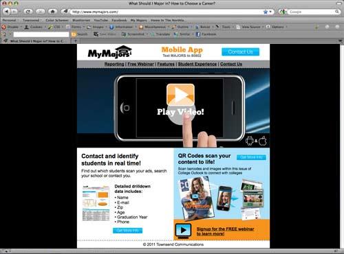 MyMajors.com Mobile App mini-site for sales
