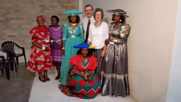 With Ladies from Namibia--Note Hats Like Cow Horns