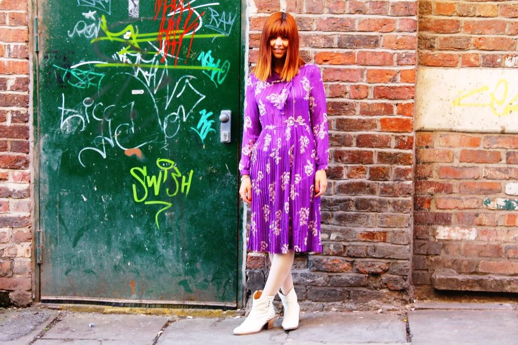 Johanna Payton Fashion Detective - purple vintage dress liverpool ropewalks