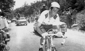 A doped Tom Simpson climbs moments before his demise
