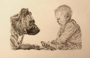 Dog and Child Drawing