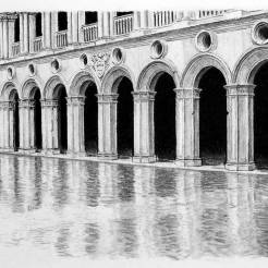 Doges-Palace-Venice-Italy-Charcoal-Drawing-by-John-Gordon