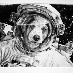 Drawing of A Puppy Astronaut For RedditGetsDrawn by Artist John Gordon