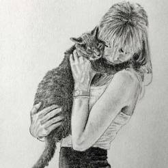 RedditGetsDrawnGirl-and-Cat-Portrait-Drawing-by-John-Gordon