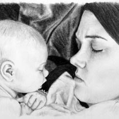Jessica & Gracie Baby Portrait Drawing by John Gordon