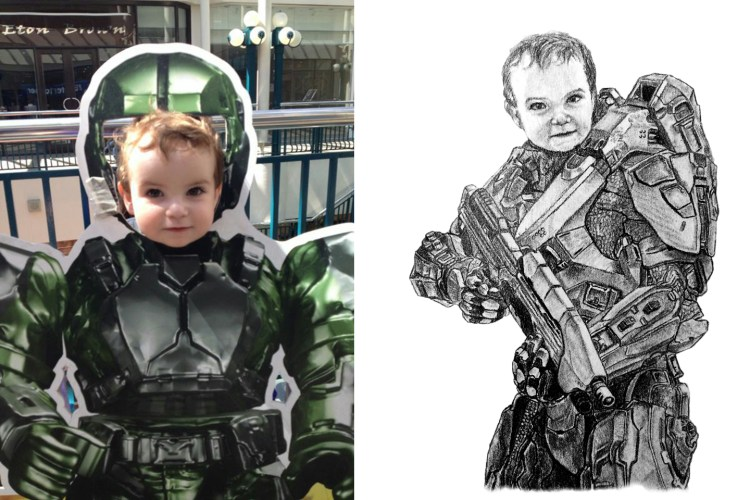 RedditGetsDrawn Master Chief Creative Portrait Drawing Comparison