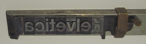 Helvetica on a composing stick
