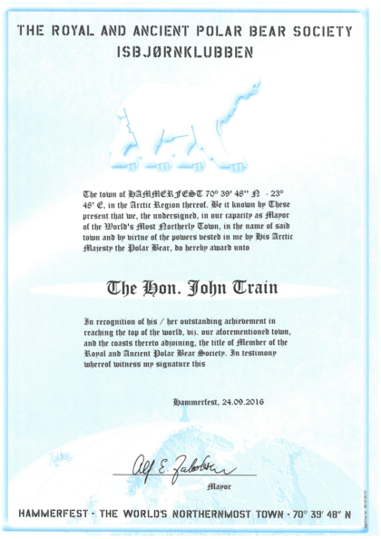 Certificate of membership in The Royal and Ancient Polar Bear Society