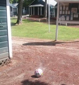 Picture I took on my last day, everyone else was gone home, just a soccer ball left with nobody to use it.