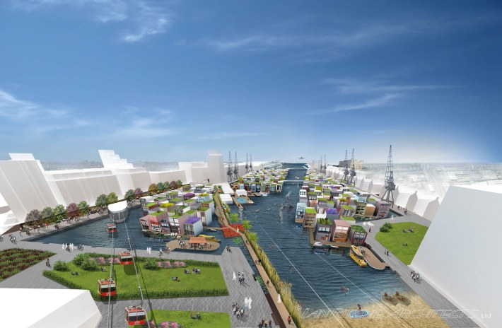 (c) Ian Ritchie Architects Ltd - Royal Docks Floating Village view Cable Car View