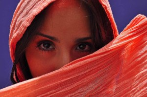 Photograph of a Young Woman with a orange scarf