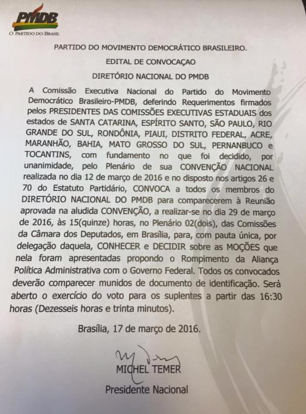 PMDB - Temer convoca reunião nacional do PMDB para decidir saída do governo