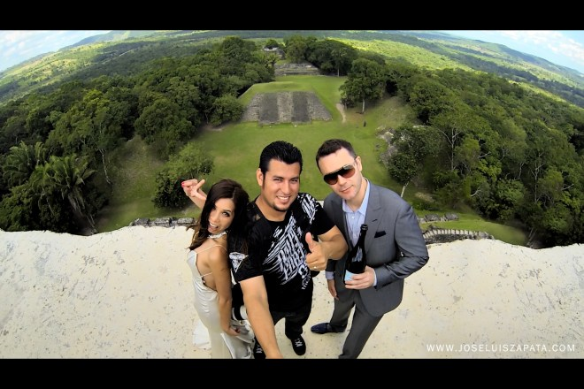 With my amazing clients. Destination wedding photography at Xunantunich Mayan Ruins in Cayo, Belize