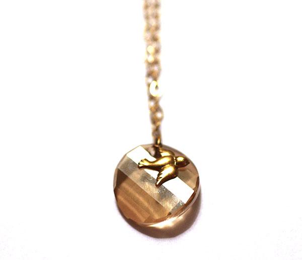 Gold Handmade Necklace with Swarovski Pendant and Bird Charm