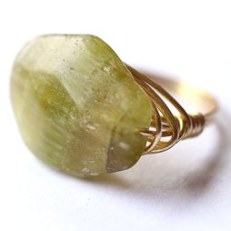 Green Wire Wrapped Ring wire wrap jewelry stone