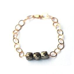 pyrite-gemstone-bracelet-gold-handmade
