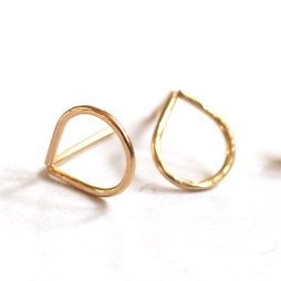 teardrop-post-earrings-handmade-gold-studs