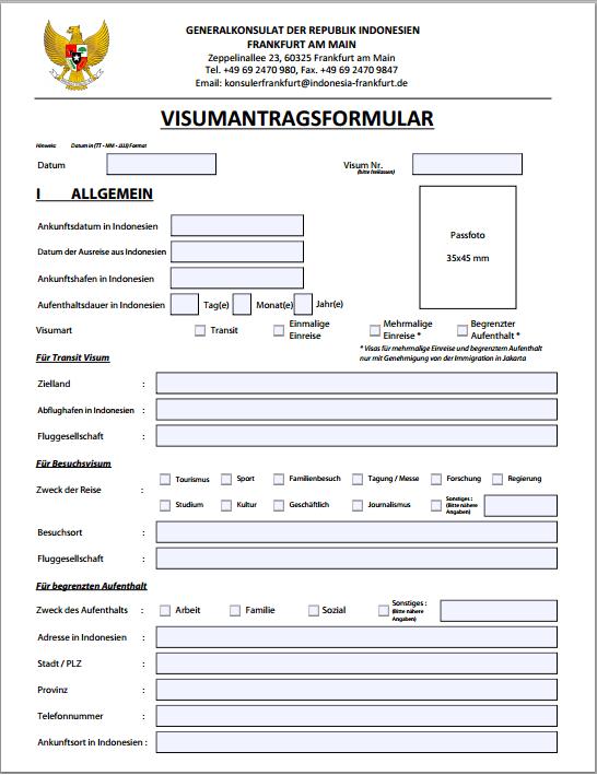 Visumsantragsformular Seite 1